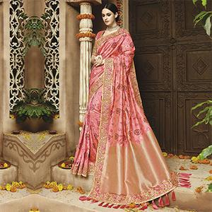 Arresting Light Pink Silk Jacquard Designer Embroidered Saree