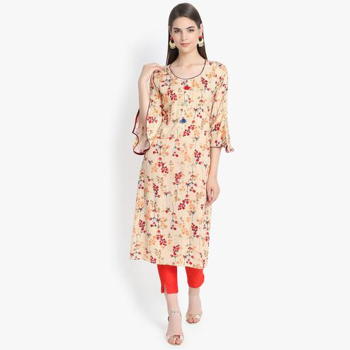 Aujjessa - Beige-Red Colored Casual Wear Floral Printed Viscose Rayon Kurti