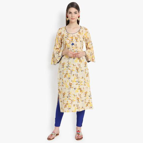 Aujjessa - Beige-Yellow Colored Casual Wear Floral Printed Viscose Rayon Kurti