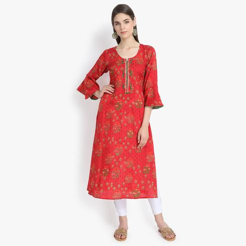 Aujjessa - Red Colored Casual Wear Floral Embroidered Printed Viscose Rayon Kurti