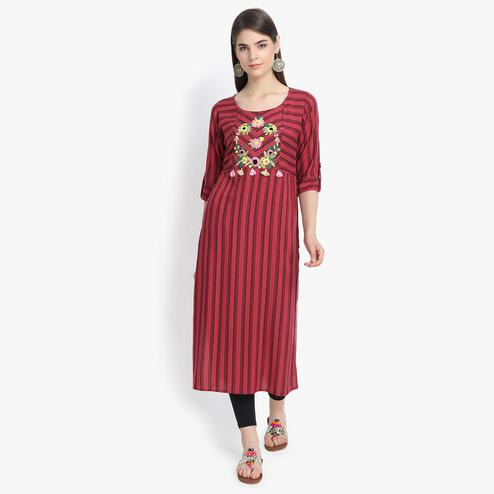 Aujjessa - Maroon Colored Casual Wear Floral Embroidered Striped Printed Viscose Rayon Kurti