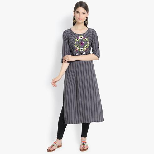 Aujjessa - Grey Colored Casual Wear Floral Embroidered Striped Printed Viscose Rayon Kurti