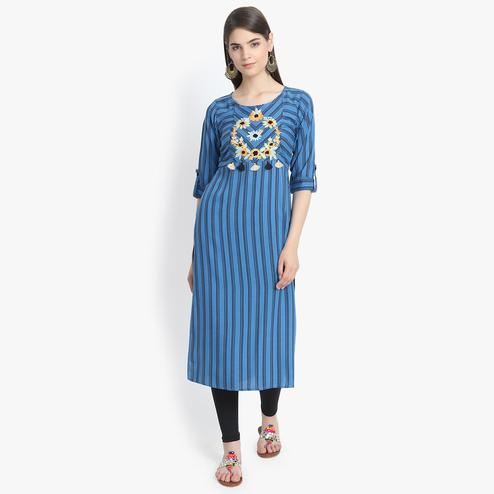Aujjessa - Blue Colored Casual Wear Floral Embroidered Striped Printed Viscose Rayon Kurti
