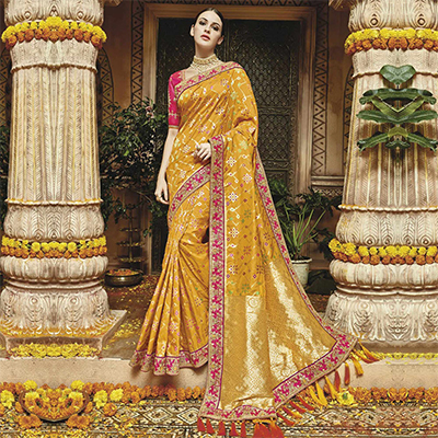 Mesmerizing Yellow Silk Jacquard Designer Embroidered Saree