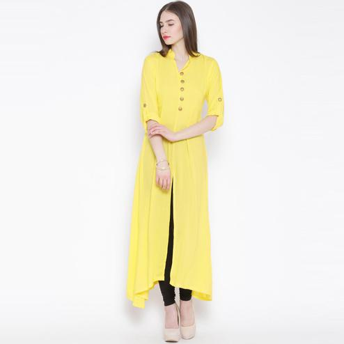 Aujjessa - Yellow Colored Casual Wear Front Slit Viscose Rayon Kurti