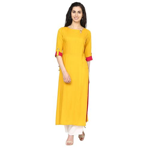 Aujjessa - Mustard Yellow Colored Casual Wear Viscose Rayon Kurti