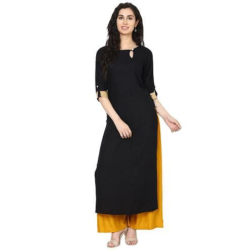 Aujjessa - Black Colored Casual Wear Viscose Rayon Kurti