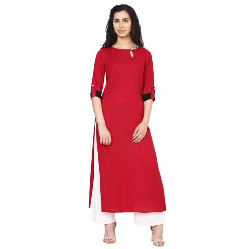 Aujjessa - Maroon Colored Casual Wear Viscose Rayon Kurti