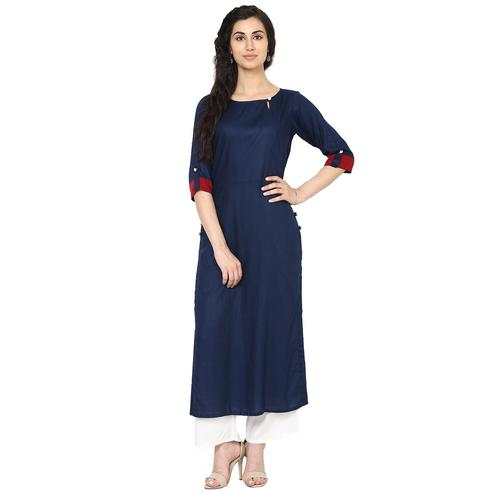 Aujjessa - Navy Blue Colored Casual Wear Viscose Rayon Kurti