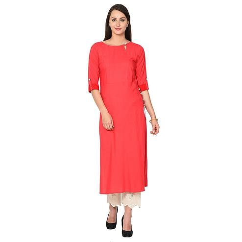 Aujjessa - Peach Colored Casual Wear Viscose Rayon Kurti