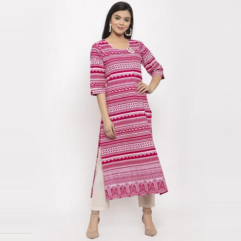 Aujjessa - Magenta Pink Colored Casual Wear Geometric Printed Cotton Kurti