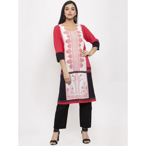 Aujjessa - Peach Colored Casual Wear Printed Viscose Rayon Kurti