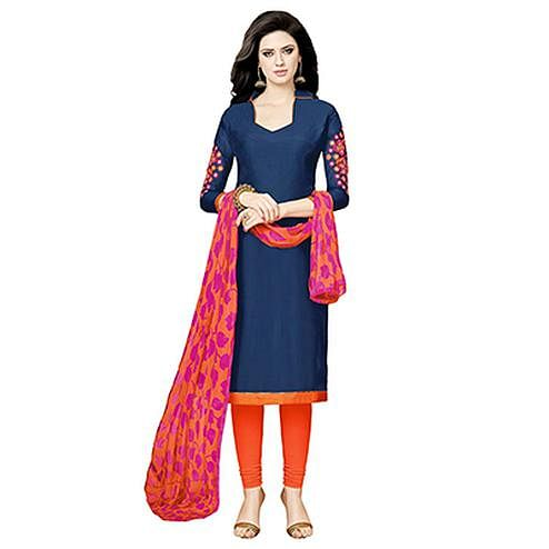 Navy Blue - Orange Chanderi Salwar Suit