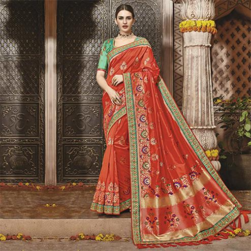 Traditional Orange Silk Jacquard Designer Embroidered Saree