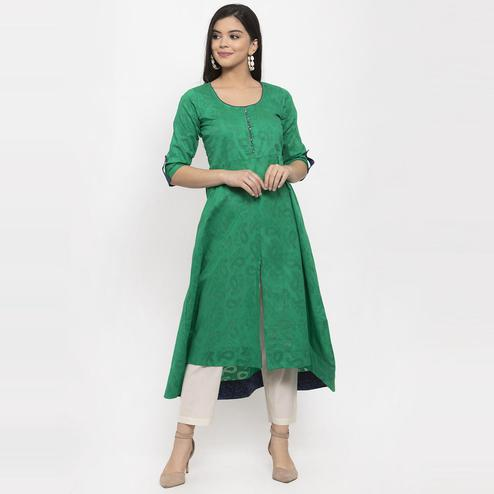 Aujjessa - Green Colored Casual Wear Printed Jacquard Kurti