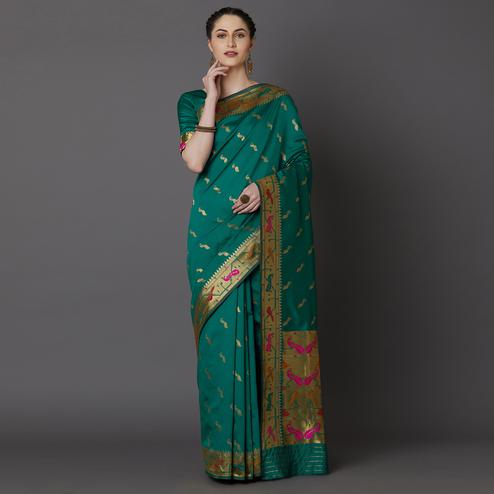 Refreshing Green Colored Festive Wear Woven Silk Blend Saree