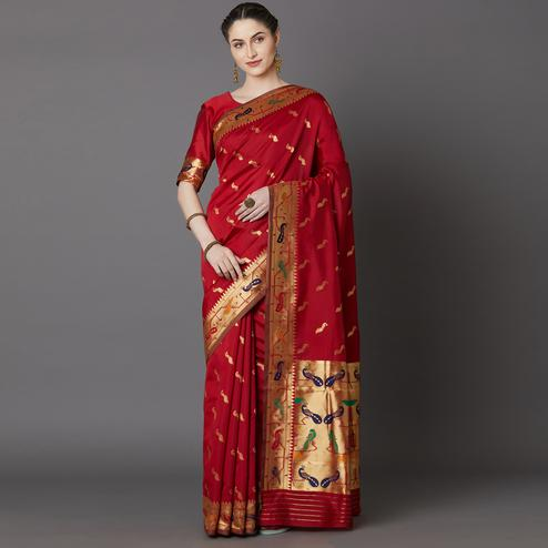 Magnetic Red Colored Festive Wear Woven Silk Blend Saree