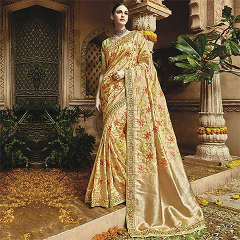 Dazzling Light Golden Silk Jacquard Designer Embroidered Saree