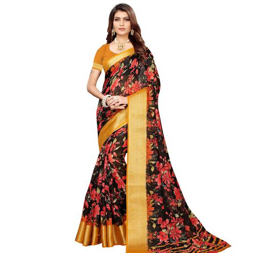 Stunning Black Festive Wear Floral Printed Semi Linen Jari Border Printed Saree