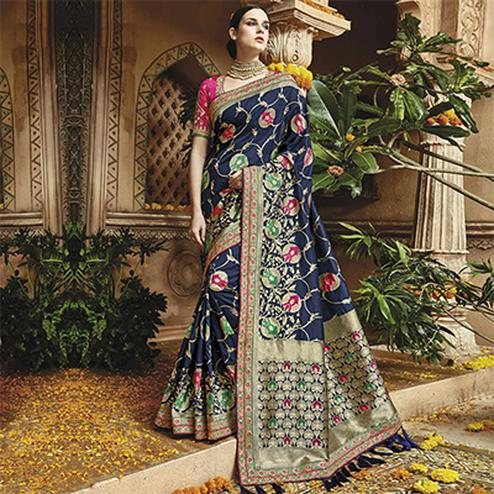 Impressive Blue Silk Jacquard Designer Embroidered Saree