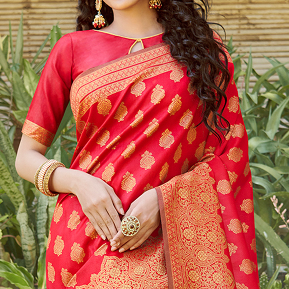 Majesty Red Colored Festive Wear Floral Woven Silk Blend Saree With Tassels