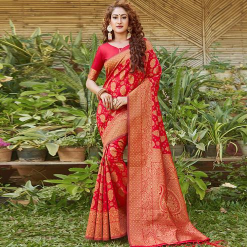 Breathtaking Red Colored Festive Wear Paisely Woven Silk Blend Saree With Tassels