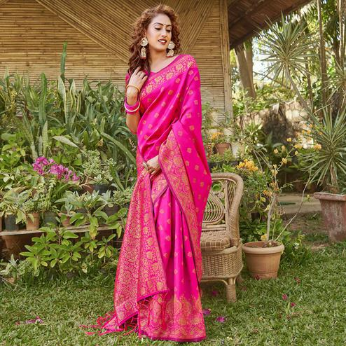 Ravishing Hot Pink Colored Festive Wear Geomatric Woven Silk Blend Saree With Tassels