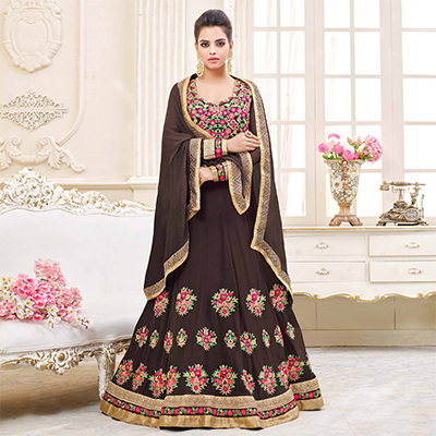 Gorgeous Brown Floral Embroidered Georgette Anarkali Suit