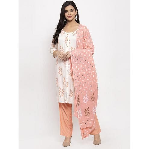 Aujjessa - White Peach Colored Casual Wear Floral Printed Rayon Kurti Pant Set With Dupatta