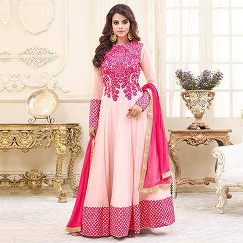 Ravishing Pink Embroidered Georgette Anarkali Suit
