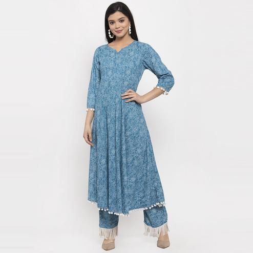 Aujjessa - Blue Colored Casual Wear Floral Printed Cotton Kurti Pant Set