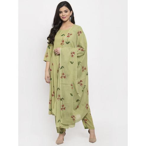 Aujjessa - Olive Green Colored Casual Wear Floral Printed Rayon Kurti Pant Set With Dupatta