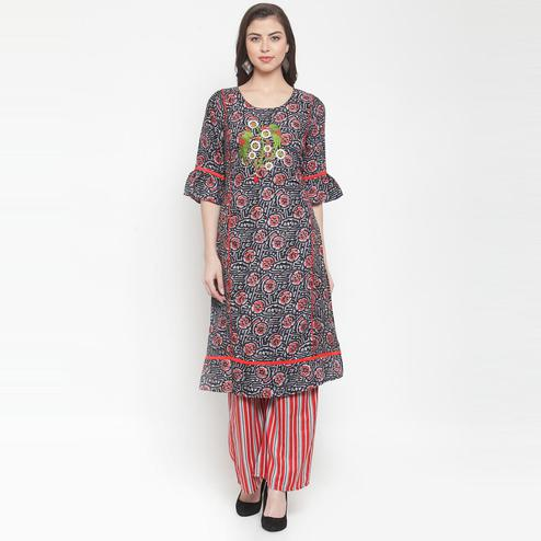 Aujjessa - Black Red Colored Casual Wear Floral Embroidered-Printed Rayon Kurti Palazzo Set