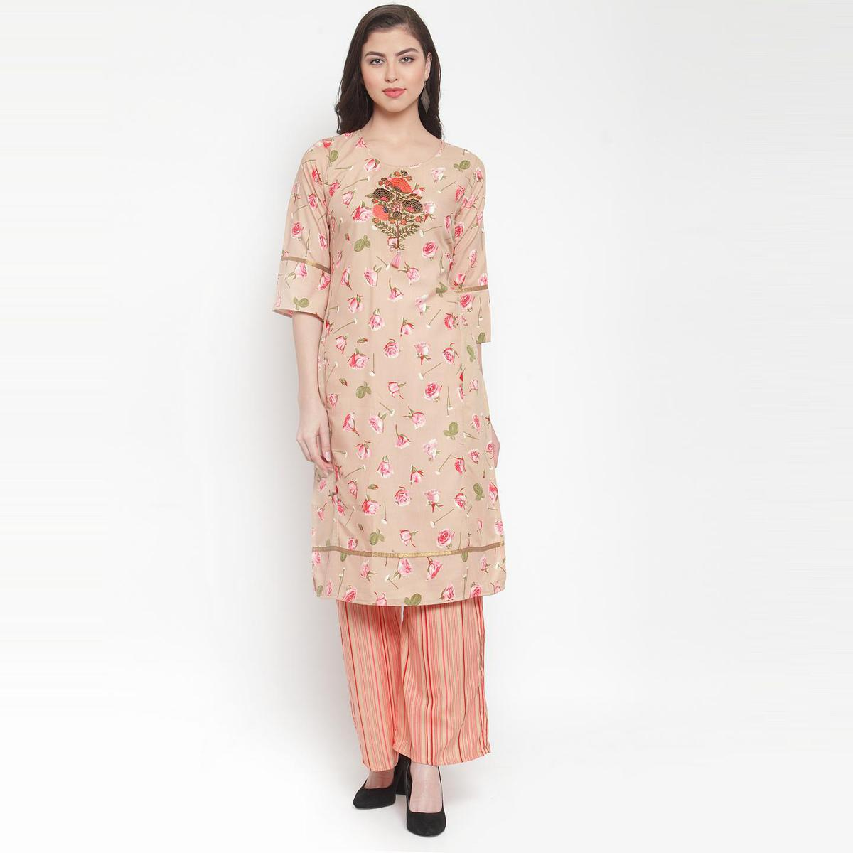 Aujjessa - Beige Pink Colored Casual Wear Floral Embroidered-Printed Rayon Kurti Palazzo Set