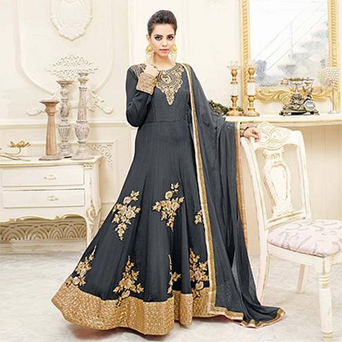 Graceful Grey Embroidered Shahi Chiffon Anarkali Suit