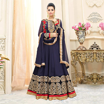 Royal Blue Floral Embroidered Georgette Anarkali Suit