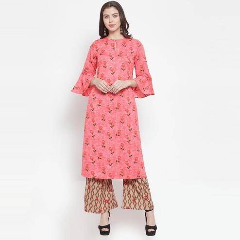 Aujjessa - Pink Colored Casual Wear Floral Printed Rayon Kurti Palazzo Set