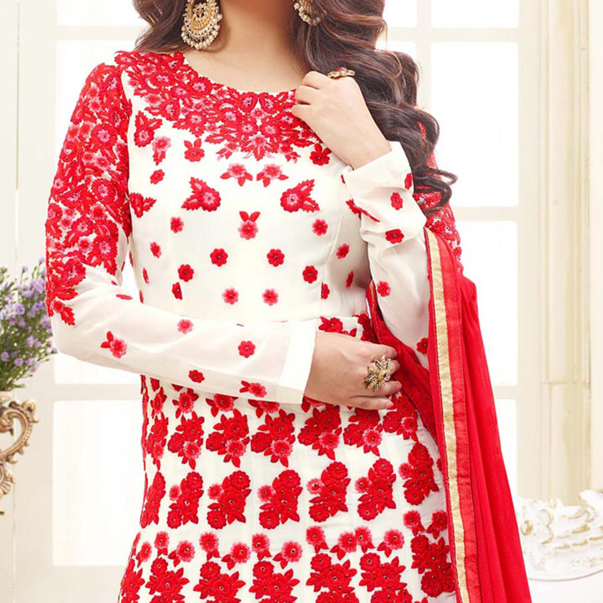 Stunning White Floral Embroidered Georgette Anarkali Suit