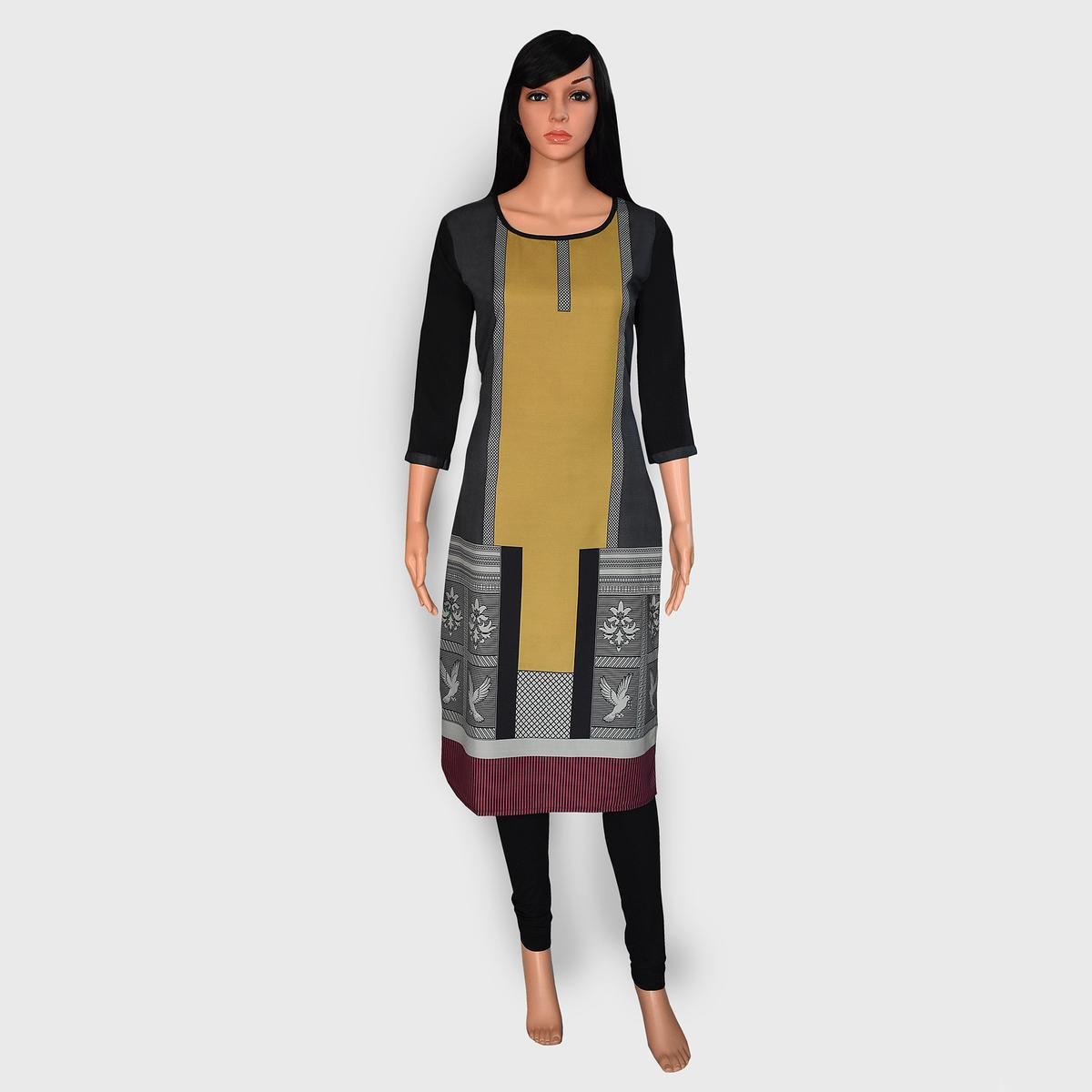 Radiant Black Colored Casual Wear Printed Crepe Kurti