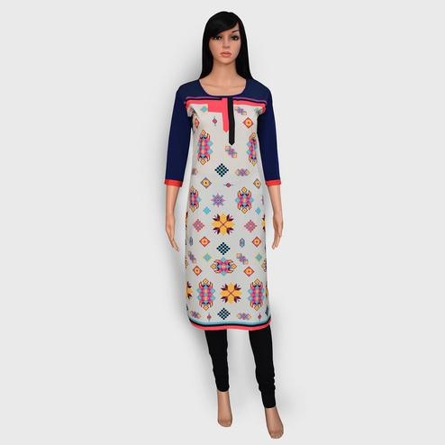 Pleasant Off White Colored Casual Wear Printed Crepe Kurti