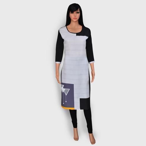 Opulent Off White Colored Casual Wear Printed Crepe Kurti