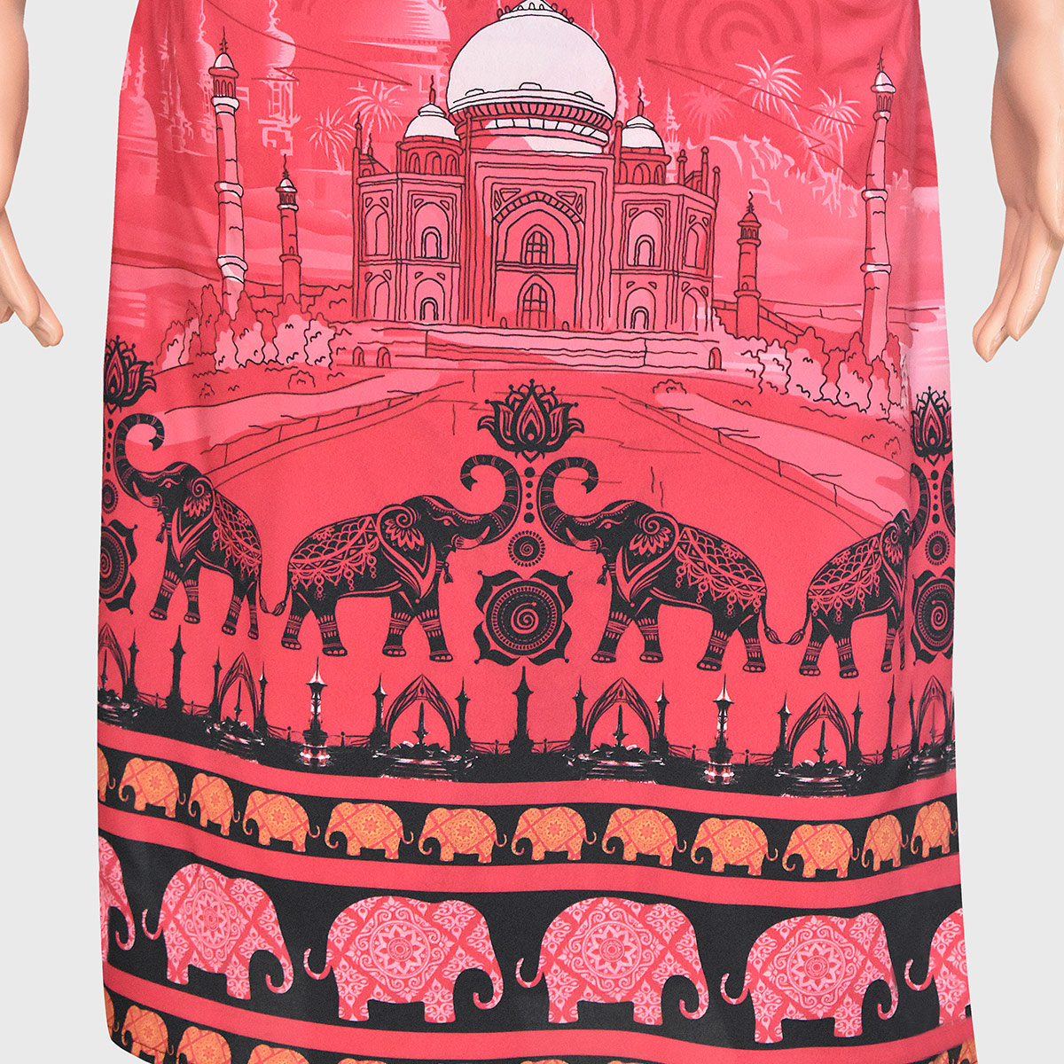 Energetic Pink Colored Casual Wear Printed Crepe Kurti