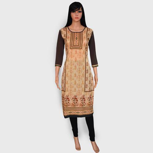 Glowing Brown Colored Casual Wear Printed Crepe Kurti