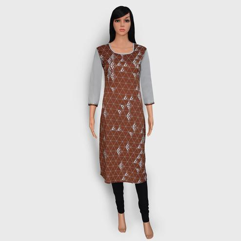 Exceptional Brown Colored Casual Wear Printed Crepe Kurti