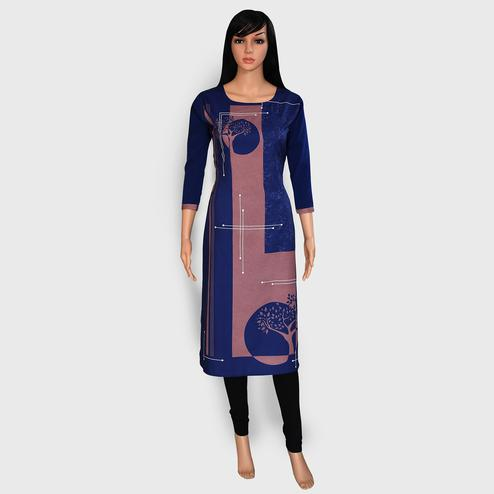Mesmeric Blue Colored Casual Wear Printed Crepe Kurti