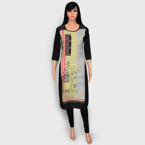 Unique Black Colored Casual Wear Printed Crepe Kurti
