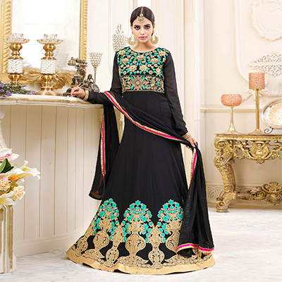 Beautiful Black Embroidered Georgette Anarkali Suit