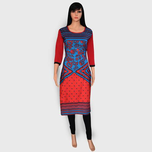 Demanding Red-Blue Colored Casual Wear Printed Crepe Kurti