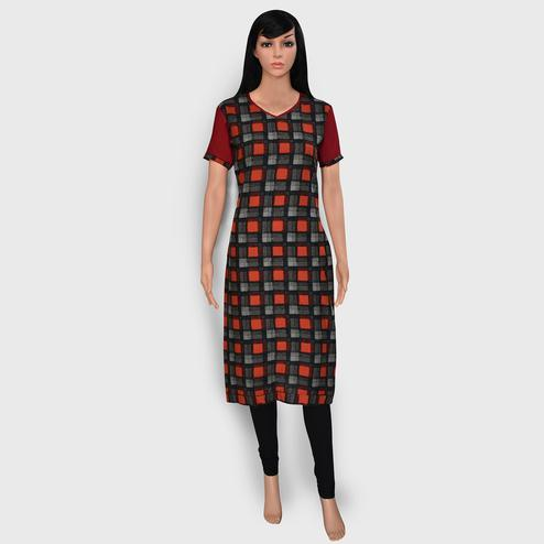 Magnetic Gray Colored Casual Wear Printed Rayon Kurti