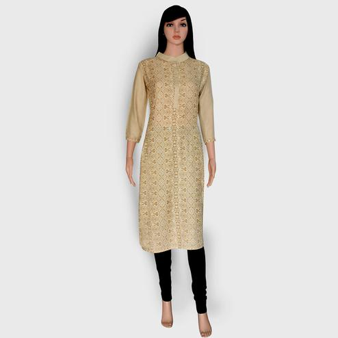 Hypnotic Beige Colored Casual Wear Printed Rayon Kurti